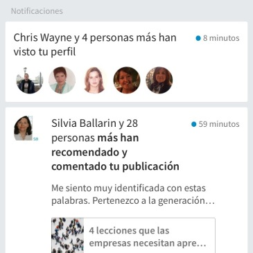 Captura de pantalla de notificaciones de LinkedIn