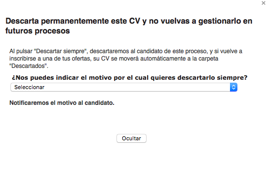 candidato descartado Infojobs